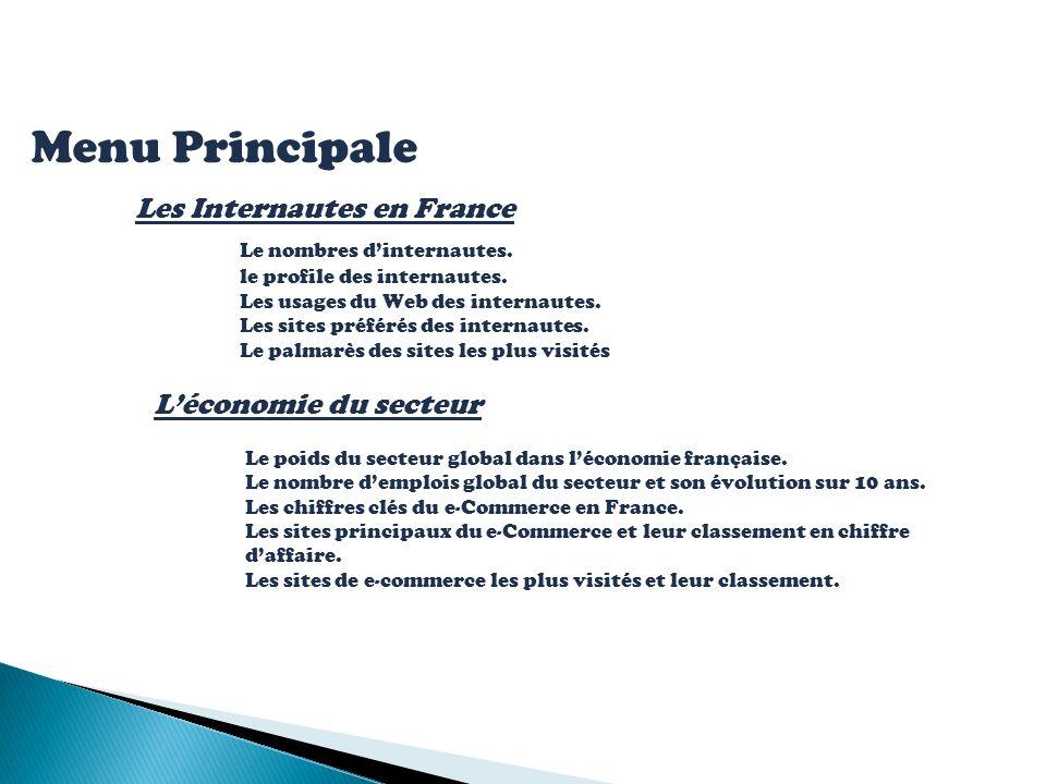 Menu Principale Les Internautes en France Le nombres dinternautes. le profile des internautes. Les usages du Web des internautes. Les sites préférés d