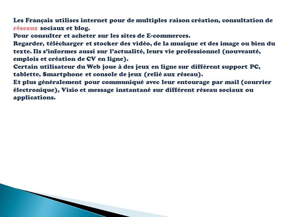 Les Français utilises internet pour de multiples raison création, consultation de réseaux sociaux et blog. Pour consulter et acheter sur les sites de