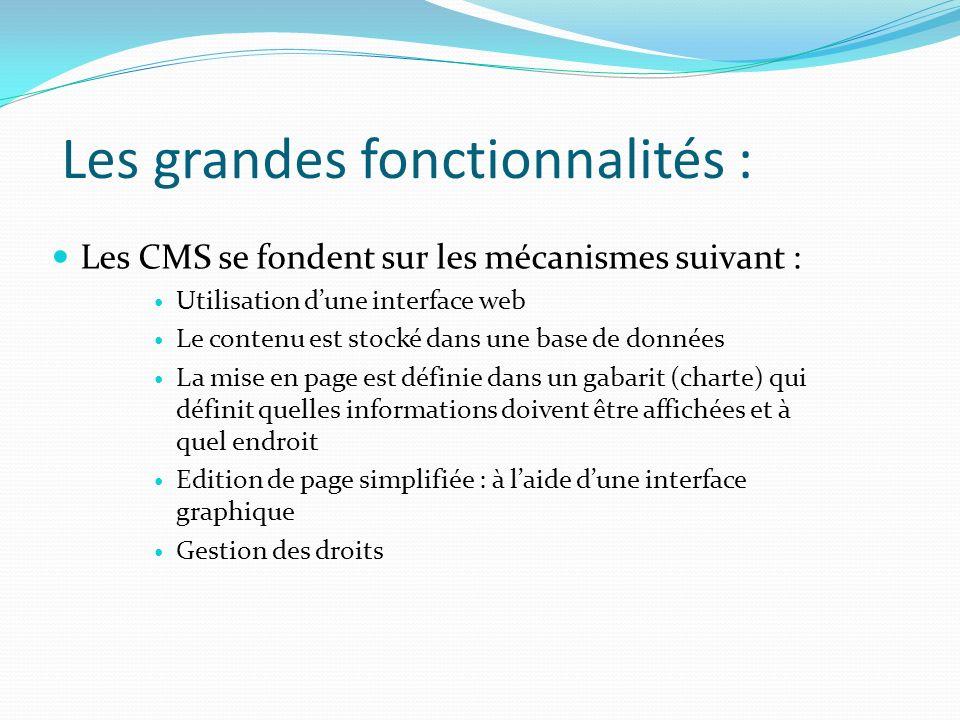 Les grandes fonctionnalités : Les CMS se fondent sur les mécanismes suivant : Utilisation dune interface web Le contenu est stocké dans une base de do