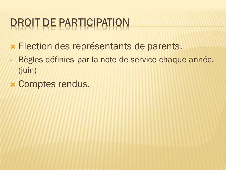 Election des représentants de parents. Règles définies par la note de service chaque année.