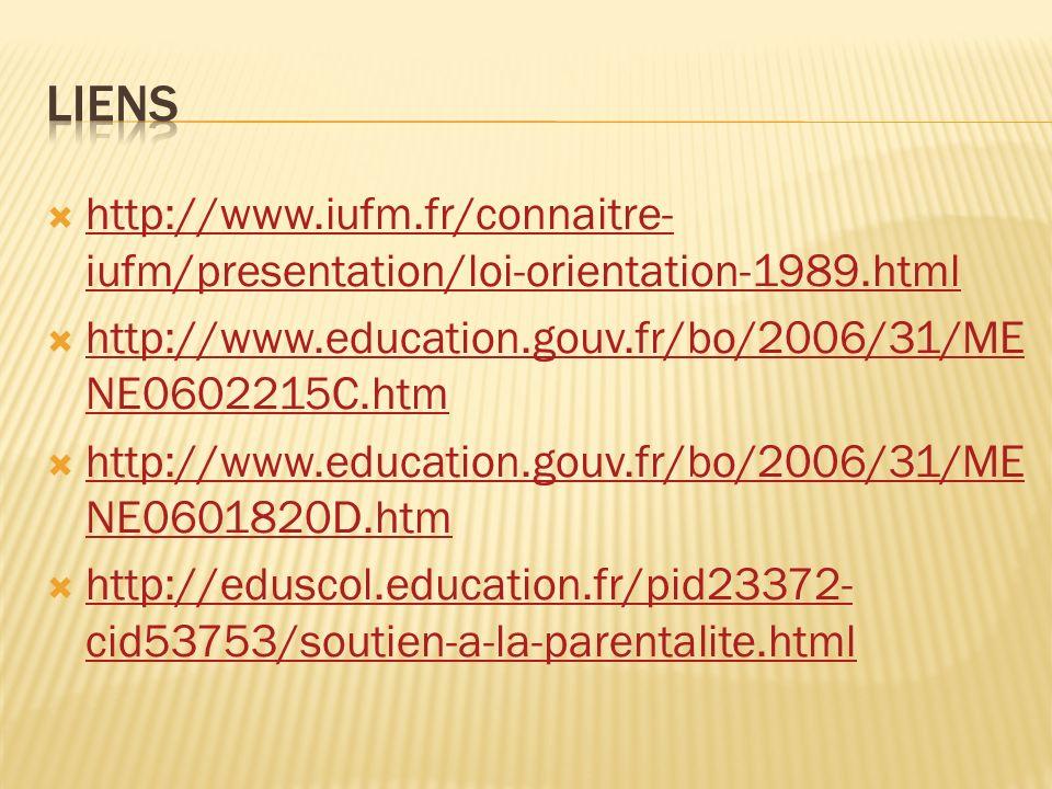 http://www.iufm.fr/connaitre- iufm/presentation/loi-orientation-1989.html http://www.iufm.fr/connaitre- iufm/presentation/loi-orientation-1989.html http://www.education.gouv.fr/bo/2006/31/ME NE0602215C.htm http://www.education.gouv.fr/bo/2006/31/ME NE0602215C.htm http://www.education.gouv.fr/bo/2006/31/ME NE0601820D.htm http://www.education.gouv.fr/bo/2006/31/ME NE0601820D.htm http://eduscol.education.fr/pid23372- cid53753/soutien-a-la-parentalite.html http://eduscol.education.fr/pid23372- cid53753/soutien-a-la-parentalite.html
