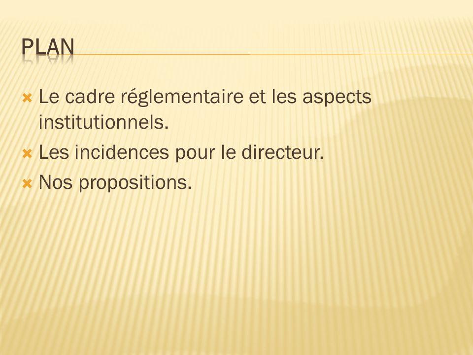 Le cadre réglementaire et les aspects institutionnels.