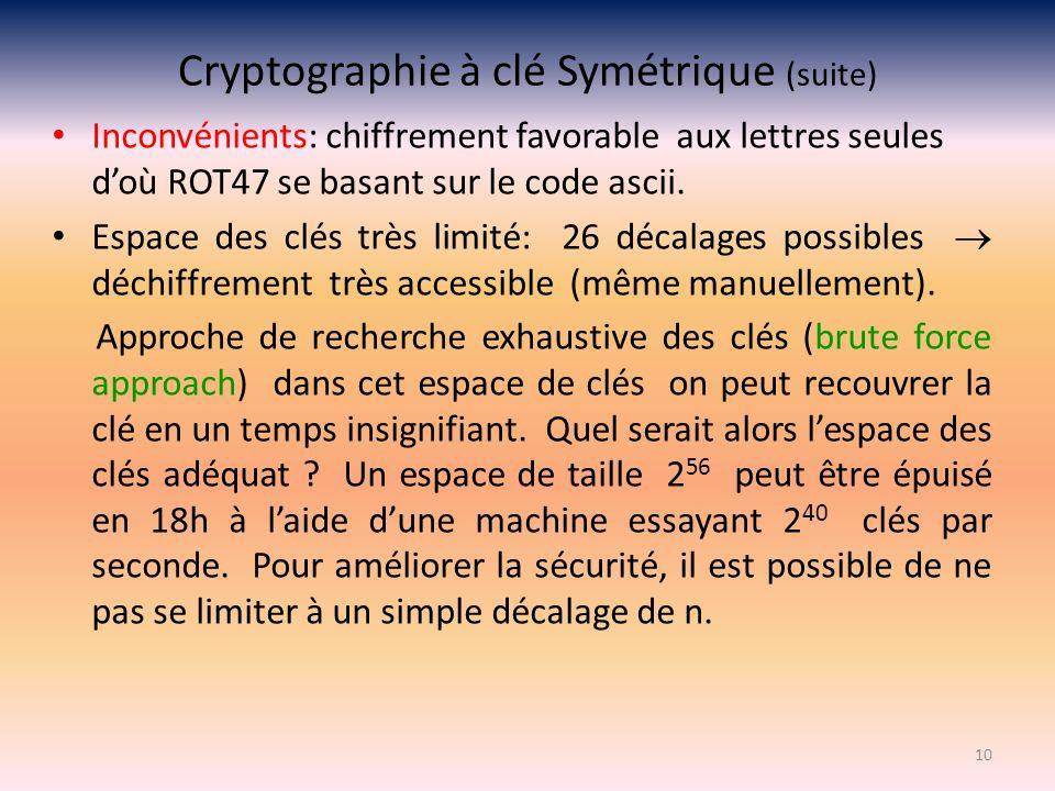 Cryptographie à clé Symétrique (suite) Inconvénients: chiffrement favorable aux lettres seules doù ROT47 se basant sur le code ascii. Espace des clés