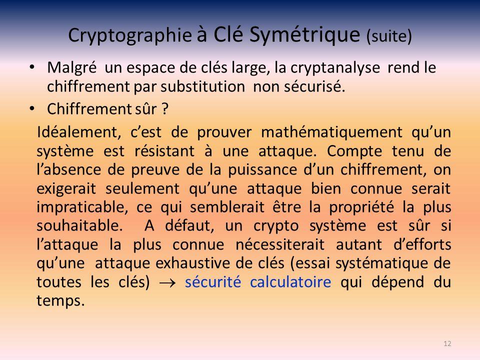 Cryptographie à Clé Symétrique (suite) Malgré un espace de clés large, la cryptanalyse rend le chiffrement par substitution non sécurisé. Chiffrement