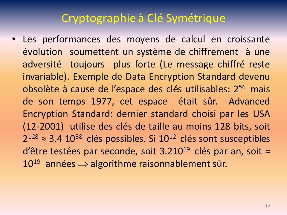 Cryptographie à Clé Symétrique Les performances des moyens de calcul en croissante évolution soumettent un système de chiffrement à une adversité touj