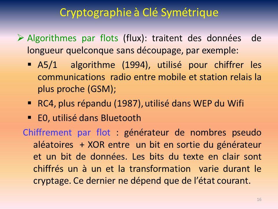 Cryptographie à Clé Symétrique Algorithmes par flots (flux): traitent des données de longueur quelconque sans découpage, par exemple: A5/1 algorithme