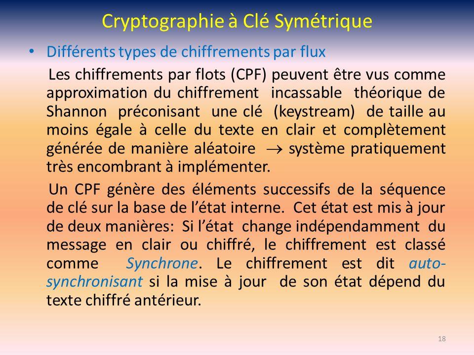 Cryptographie à Clé Symétrique Différents types de chiffrements par flux Les chiffrements par flots (CPF) peuvent être vus comme approximation du chif