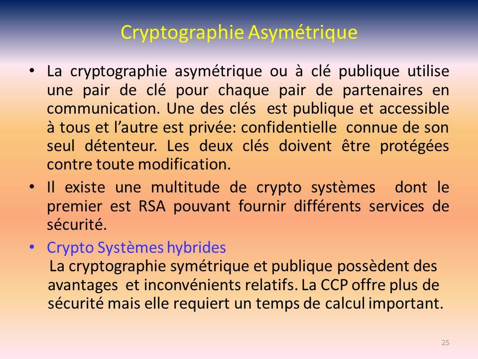 Cryptographie Asymétrique La cryptographie asymétrique ou à clé publique utilise une pair de clé pour chaque pair de partenaires en communication. Une