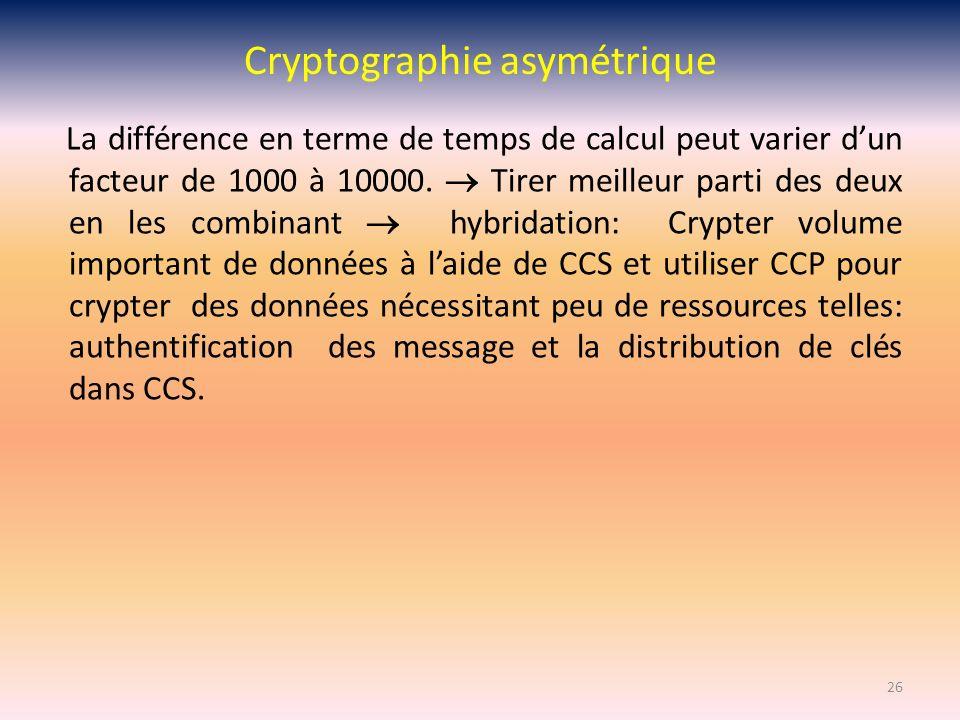 Cryptographie asymétrique La différence en terme de temps de calcul peut varier dun facteur de 1000 à 10000. Tirer meilleur parti des deux en les comb