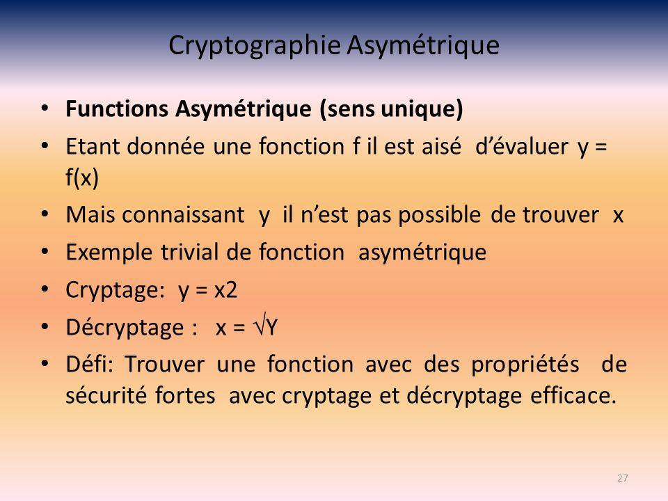 Cryptographie Asymétrique Functions Asymétrique (sens unique) Etant donnée une fonction f il est aisé dévaluer y = f(x) Mais connaissant y il nest pas