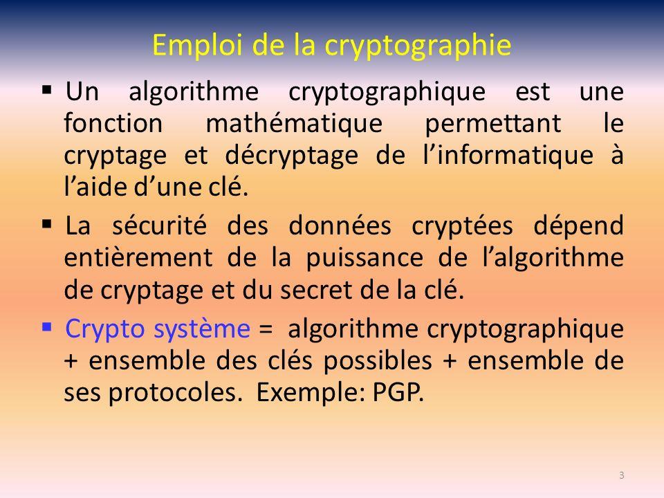 Emploi de la cryptographie Un algorithme cryptographique est une fonction mathématique permettant le cryptage et décryptage de linformatique à laide d