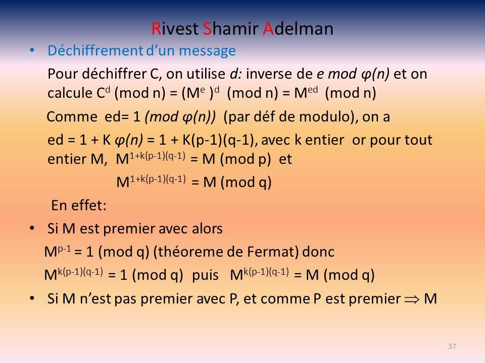 Rivest Shamir Adelman Déchiffrement dun message Pour déchiffrer C, on utilise d: inverse de e mod φ(n) et on calcule C d (mod n) = (M e ) d (mod n) =