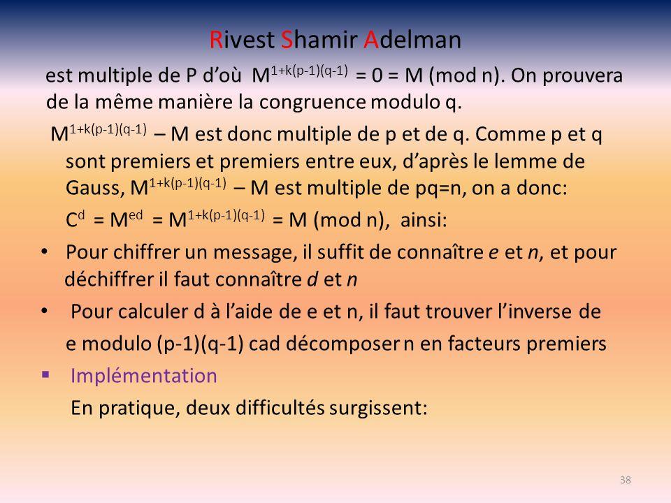 Rivest Shamir Adelman est multiple de P doù M 1+k(p-1)(q-1) = 0 = M (mod n). On prouvera de la même manière la congruence modulo q. M 1+k(p-1)(q-1) –