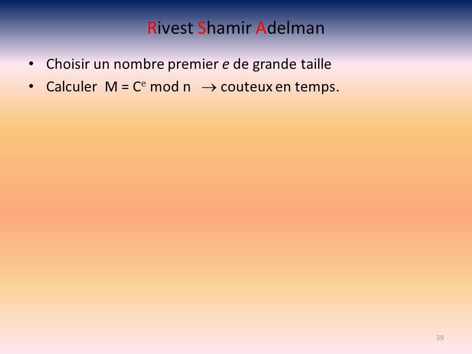 Rivest Shamir Adelman Choisir un nombre premier e de grande taille Calculer M = C e mod n couteux en temps. 39