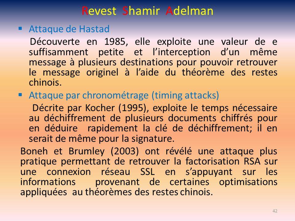 Revest Shamir Adelman Attaque de Hastad Découverte en 1985, elle exploite une valeur de e suffisamment petite et linterception dun même message à plus