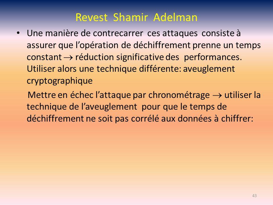 Revest Shamir Adelman Une manière de contrecarrer ces attaques consiste à assurer que lopération de déchiffrement prenne un temps constant réduction s