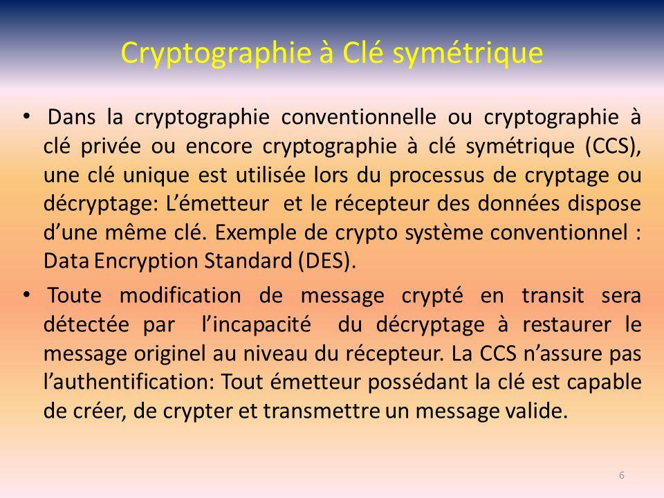 Cryptographie Asymétrique Functions Asymétrique (sens unique) Etant donnée une fonction f il est aisé dévaluer y = f(x) Mais connaissant y il nest pas possible de trouver x Exemple trivial de fonction asymétrique Cryptage: y = x2 Décryptage : x = Y Défi: Trouver une fonction avec des propriétés de sécurité fortes avec cryptage et décryptage efficace.