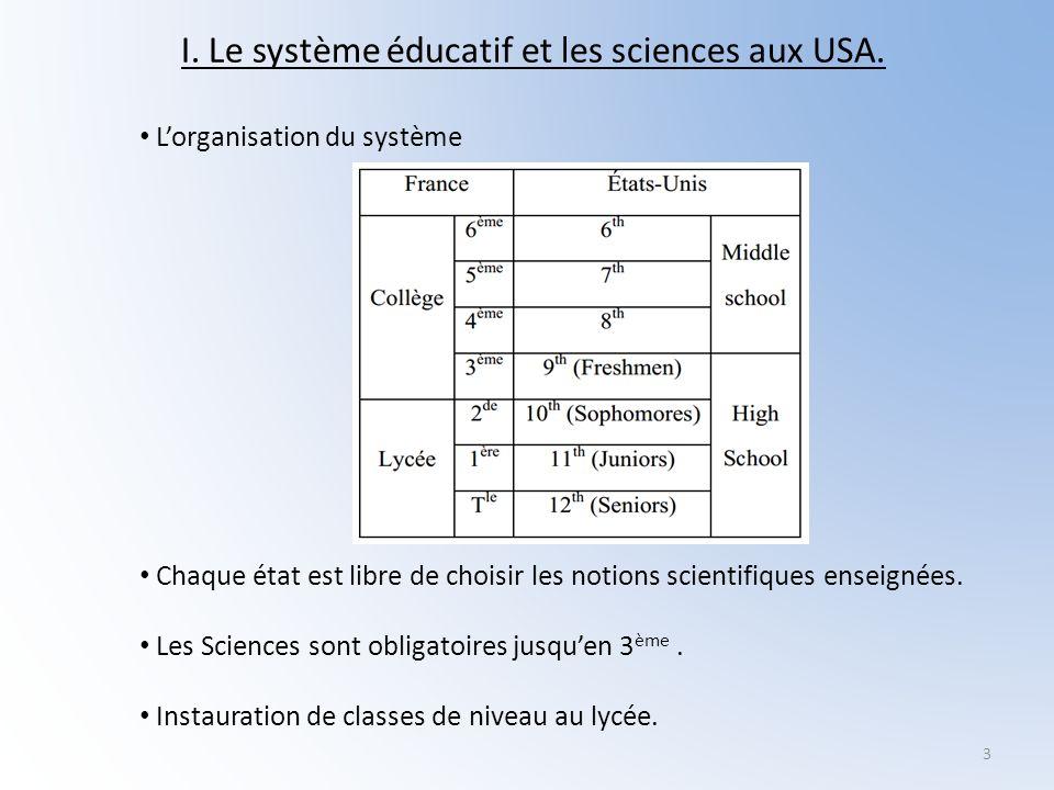 3 I. Le système éducatif et les sciences aux USA. Lorganisation du système Chaque état est libre de choisir les notions scientifiques enseignées. Les