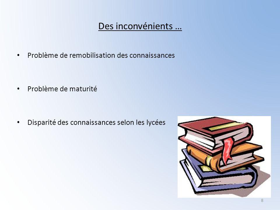 Des inconvénients … Problème de remobilisation des connaissances Problème de maturité Disparité des connaissances selon les lycées 8