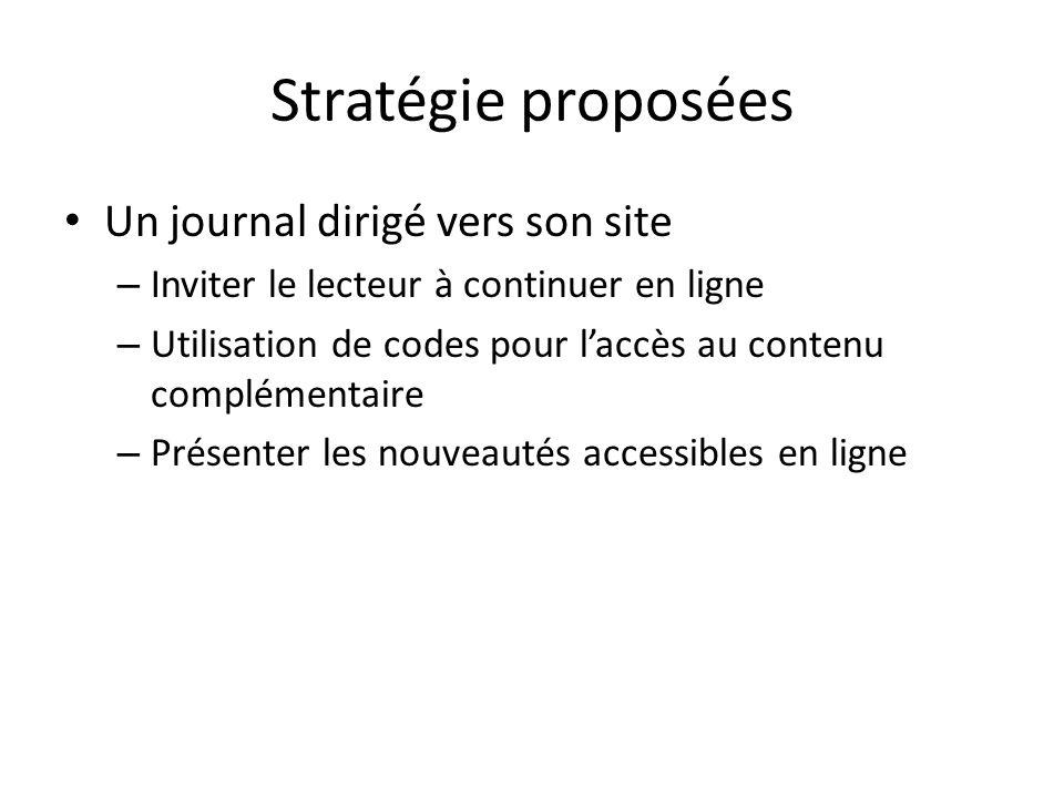 Stratégie proposées Un journal dirigé vers son site – Inviter le lecteur à continuer en ligne – Utilisation de codes pour laccès au contenu complémentaire – Présenter les nouveautés accessibles en ligne