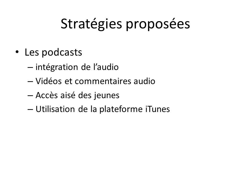 Stratégies proposées Les podcasts – intégration de laudio – Vidéos et commentaires audio – Accès aisé des jeunes – Utilisation de la plateforme iTunes