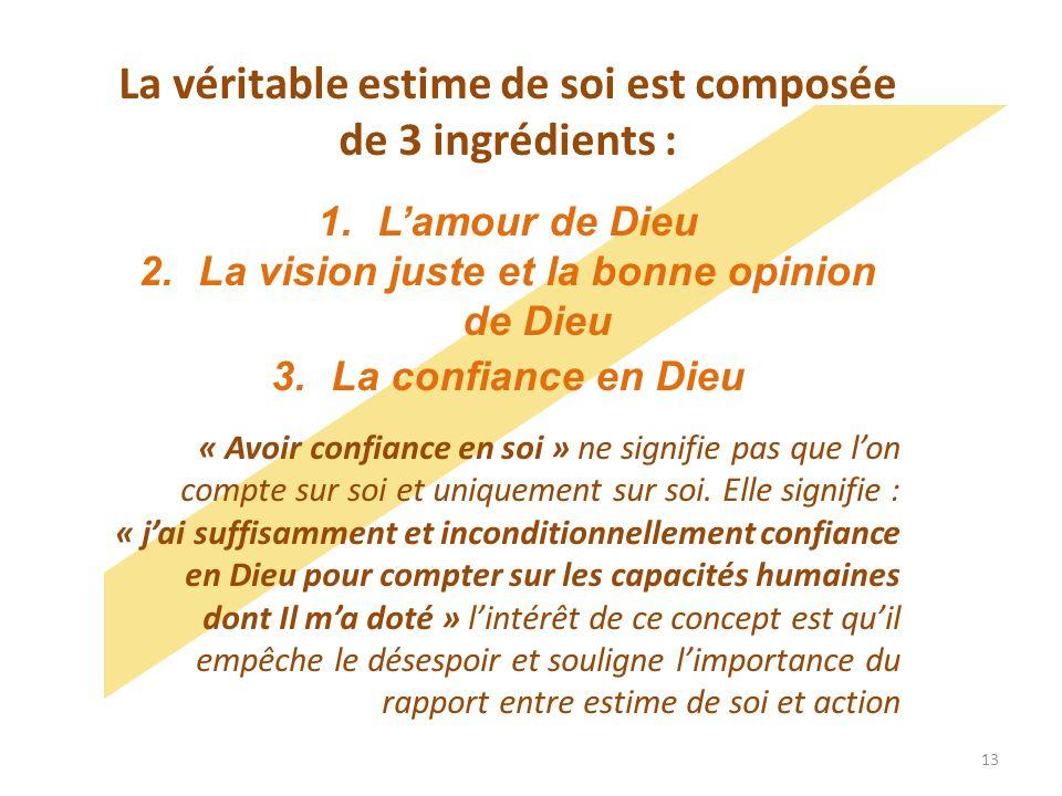 La véritable estime de soi est composée de 3 ingrédients : 1.Lamour de Dieu 2.La vision juste et la bonne opinion de Dieu 3.La confiance en Dieu « Avo