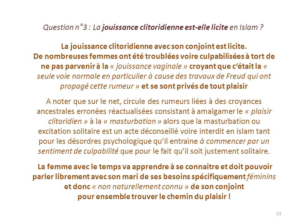 Question n°4 : Quels facteurs favorisent le plaisir de la femme .