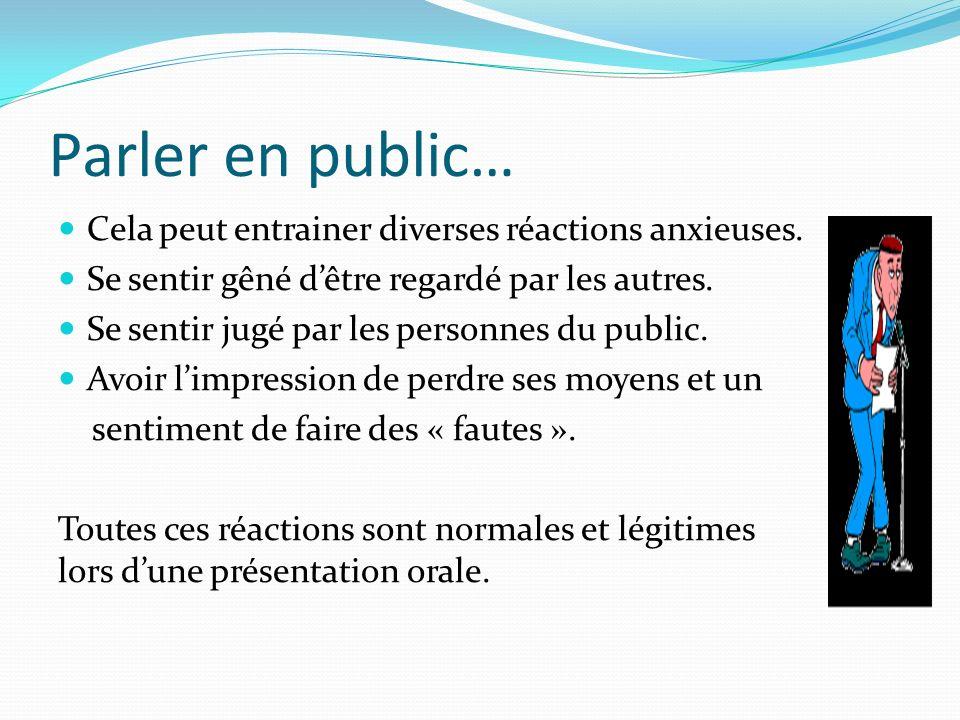 Parler en public… Cela peut entrainer diverses réactions anxieuses. Se sentir gêné dêtre regardé par les autres. Se sentir jugé par les personnes du p