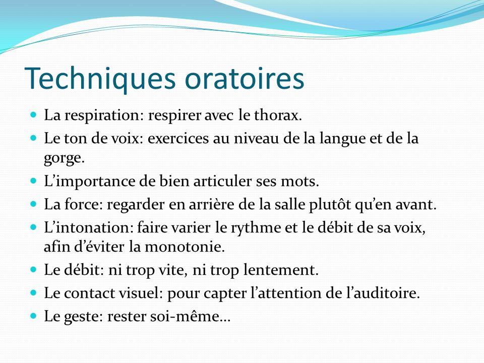 Techniques oratoires La respiration: respirer avec le thorax. Le ton de voix: exercices au niveau de la langue et de la gorge. Limportance de bien art