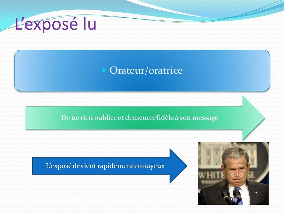 Lexposé lu Orateur/oratrice De ne rien oublier et demeurer fidèle à son message Lexposé devient rapidement ennuyeux