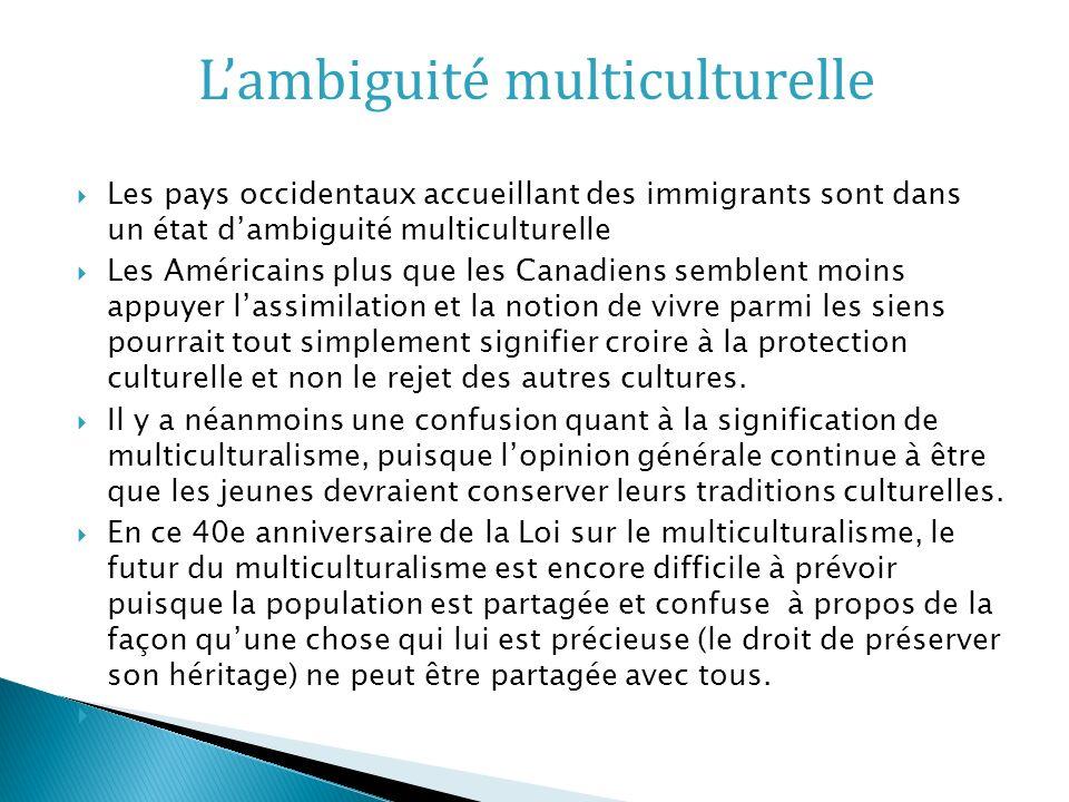 Les pays occidentaux accueillant des immigrants sont dans un état dambiguité multiculturelle Les Américains plus que les Canadiens semblent moins appuyer lassimilation et la notion de vivre parmi les siens pourrait tout simplement signifier croire à la protection culturelle et non le rejet des autres cultures.