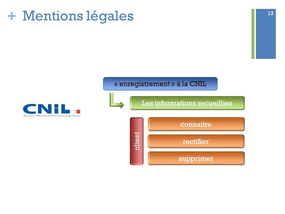 + 13 Mentions légales « enregistrement » à la CNIL Les informations recueillies client connaitre rectifier supprimer