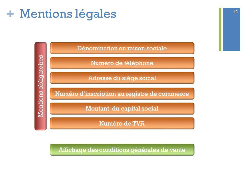+ 14 Mentions légales Mentions obligatoires Dénomination ou raison sociale Numéro de téléphone Adresse du siège social Numéro dinscription au registre