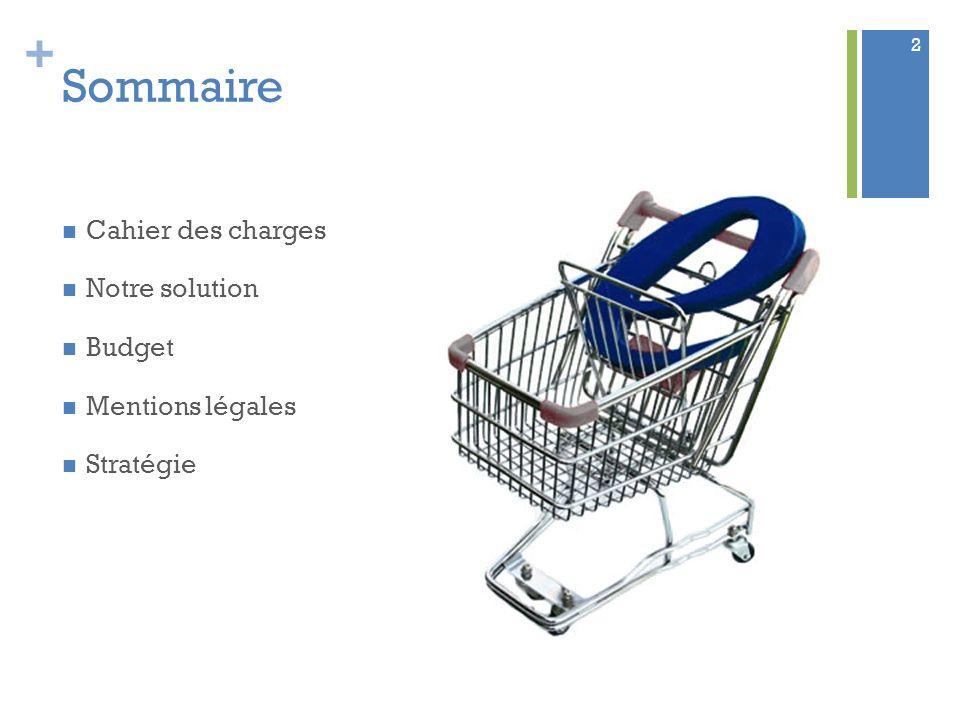 + Sommaire Cahier des charges Notre solution Budget Mentions légales Stratégie 2