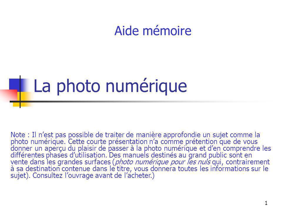 1 La photo numérique Aide mémoire Note : Il nest pas possible de traiter de manière approfondie un sujet comme la photo numérique. Cette courte présen