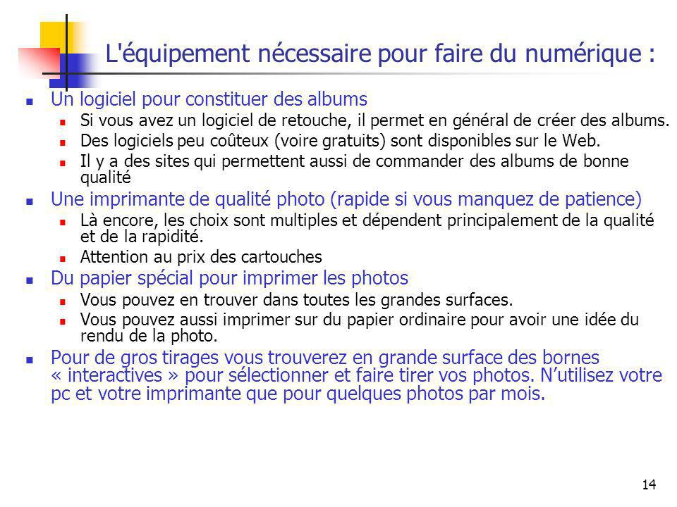 14 L'équipement nécessaire pour faire du numérique : Un logiciel pour constituer des albums Si vous avez un logiciel de retouche, il permet en général