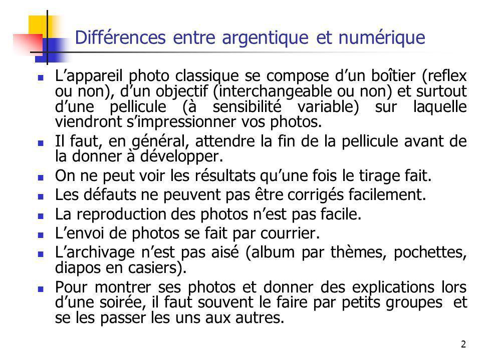 3 Différences entre argentique et numérique Lappareil photo numérique se compose dun boîtier (reflex ou non), dun objectif (interchangeable ou non) mais surtout dune mémoire sur laquelle viendront senregistrer vos photos.
