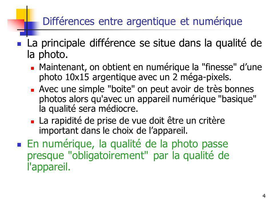 4 Différences entre argentique et numérique La principale différence se situe dans la qualité de la photo. Maintenant, on obtient en numérique la