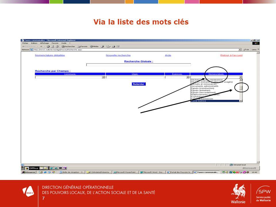8 Via le moteur de recherche par commune / objet / exercice Par communePar objet : recherche librePar exercice