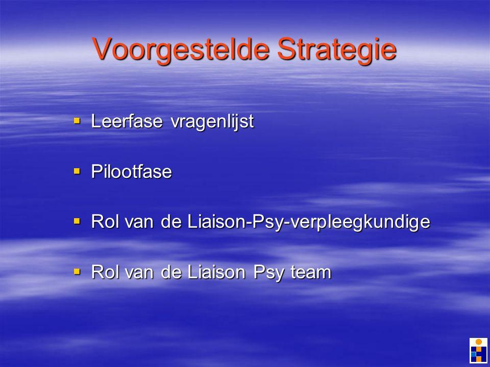 Voorgestelde Strategie Leerfase vragenlijst Leerfase vragenlijst Pilootfase Pilootfase Rol van de Liaison-Psy-verpleegkundige Rol van de Liaison-Psy-verpleegkundige Rol van de Liaison Psy team Rol van de Liaison Psy team