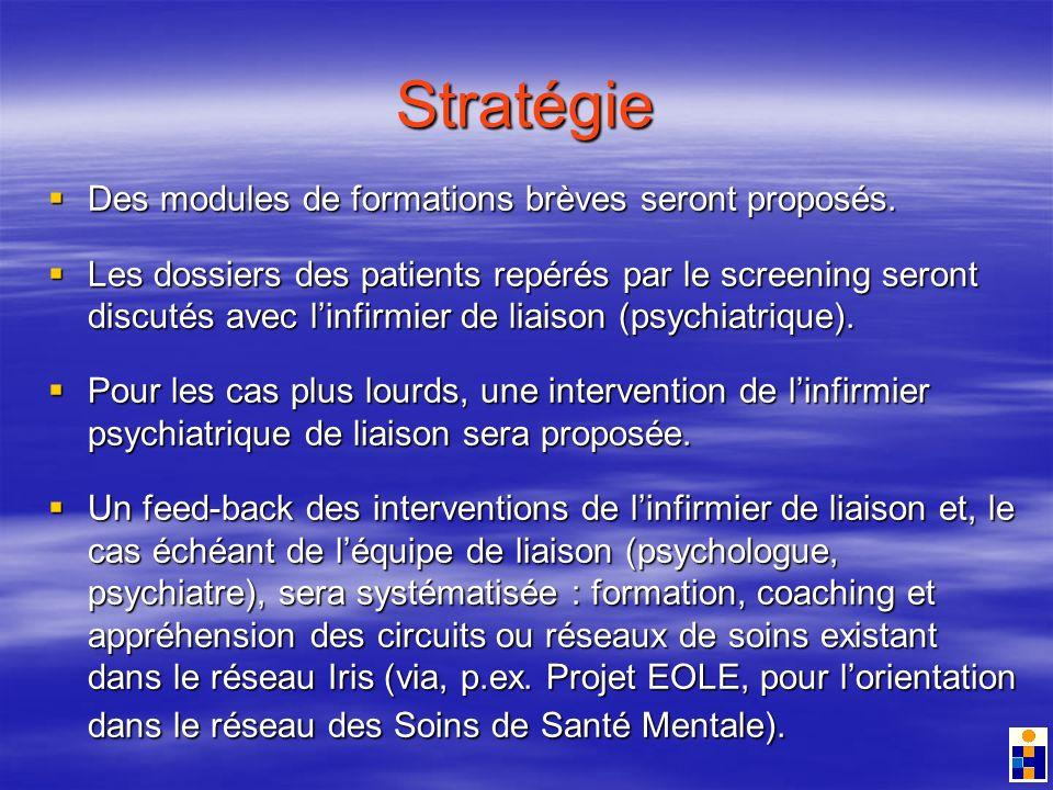 Stratégie Des modules de formations brèves seront proposés.