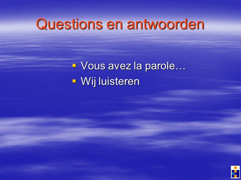 Questions en antwoorden Vous avez la parole… Vous avez la parole… Wij luisteren Wij luisteren