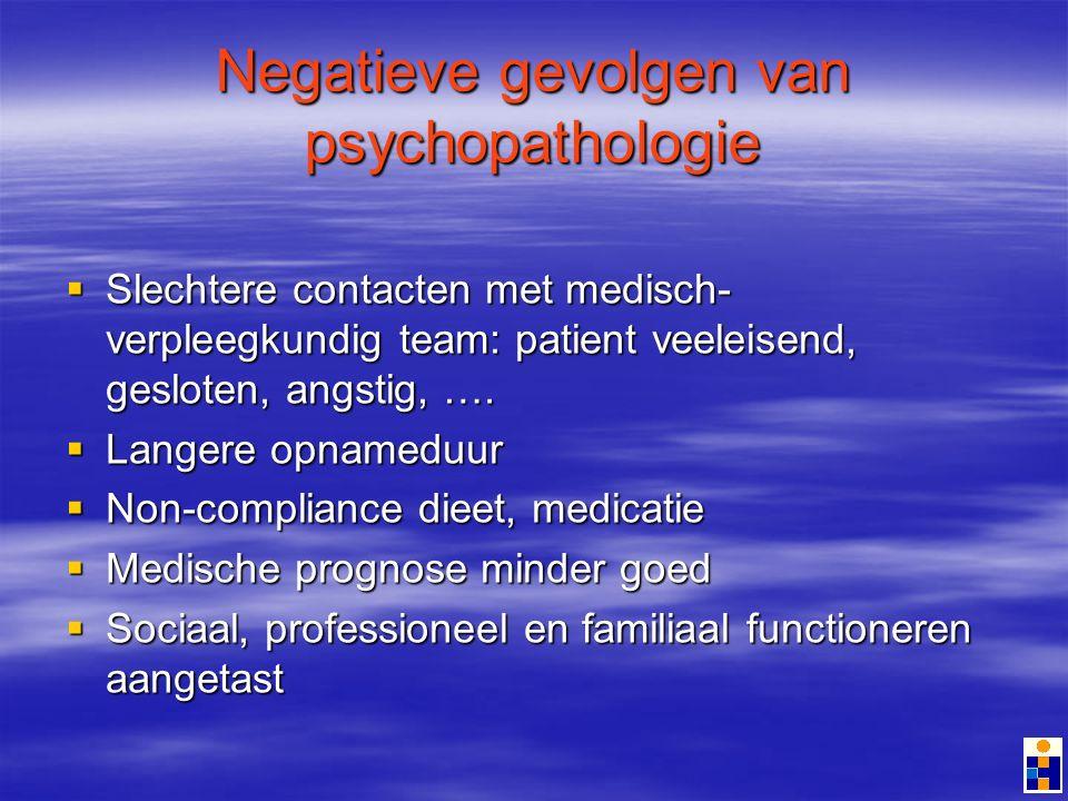 Negatieve gevolgen van psychopathologie Slechtere contacten met medisch- verpleegkundig team: patient veeleisend, gesloten, angstig, ….