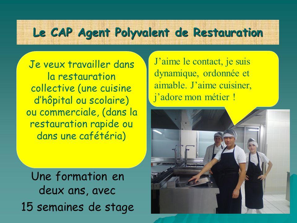 Je veux travailler dans la restauration collective (une cuisine dhôpital ou scolaire) ou commerciale, (dans la restauration rapide ou dans une cafétér