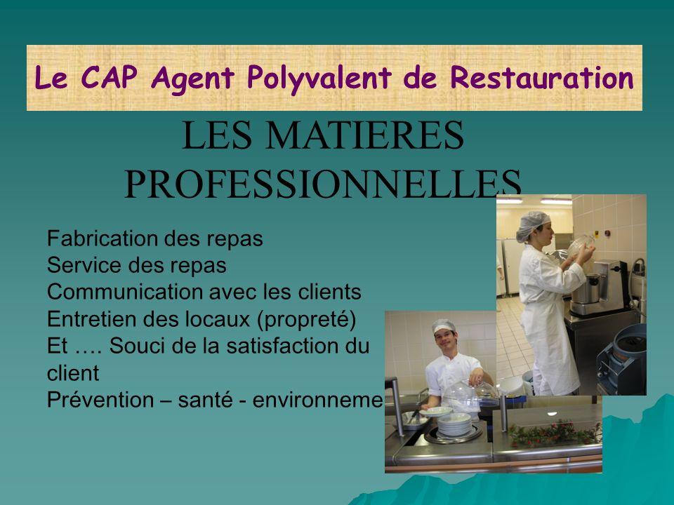 LES MATIERES PROFESSIONNELLES Fabrication des repas Service des repas Communication avec les clients Entretien des locaux (propreté) Et …. Souci de la