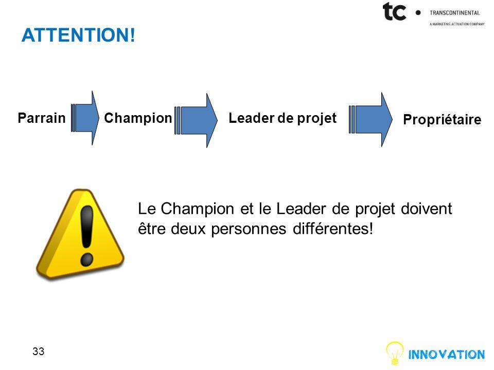 33 Le Champion et le Leader de projet doivent être deux personnes différentes.