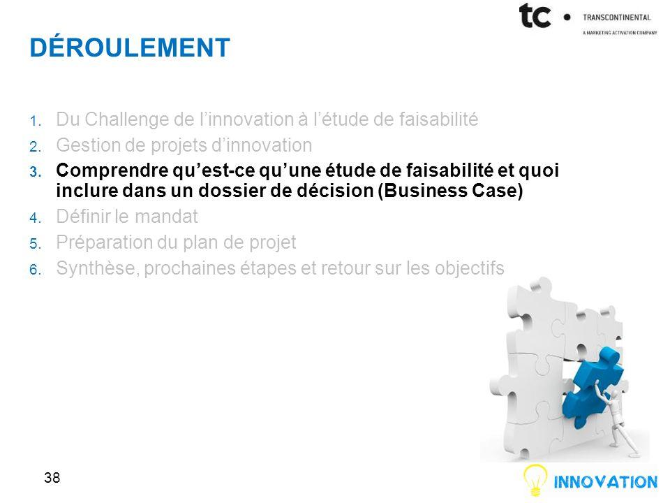 DÉROULEMENT 38 1.Du Challenge de linnovation à létude de faisabilité 2.
