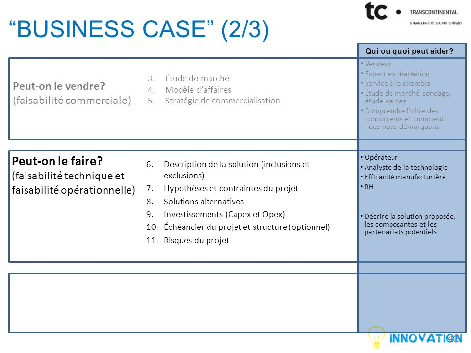 43 BUSINESS CASE (3/3) Peut-on le vendre.