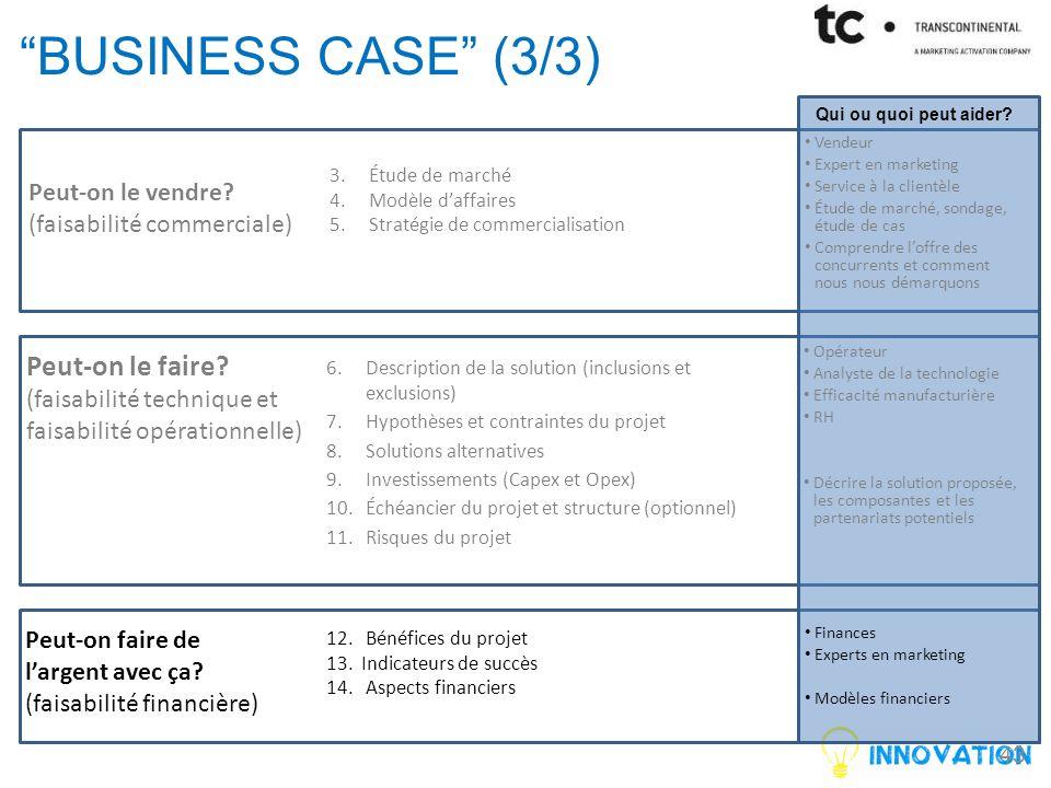 43 BUSINESS CASE (3/3) Peut-on le vendre.