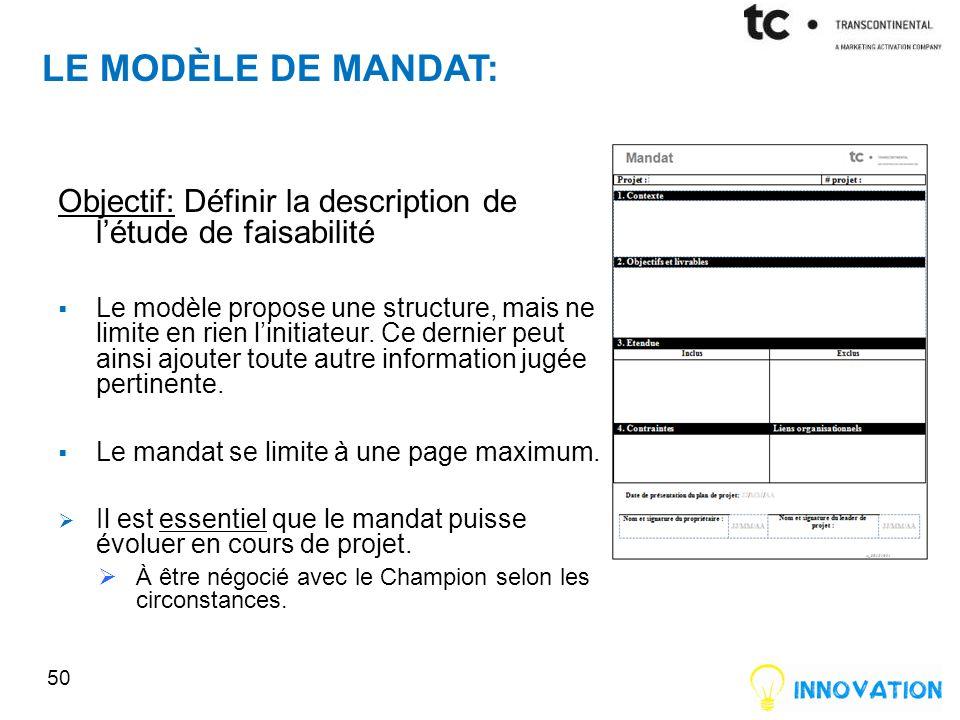 LE MODÈLE DE MANDAT: Objectif: Définir la description de létude de faisabilité Le modèle propose une structure, mais ne limite en rien linitiateur.